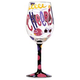 Lolita® Cheers Handpainted Wine Glass, 15 oz., , large