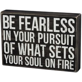 """Primitives by Kathy """"Be Fearless"""" Wood Box Sign, , large"""