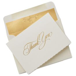 Classic Ivory and Gold Thank You Notes, Box of 10, , large