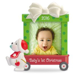 Beary Cute Baby's First Christmas Photo Holder Ornament, , large