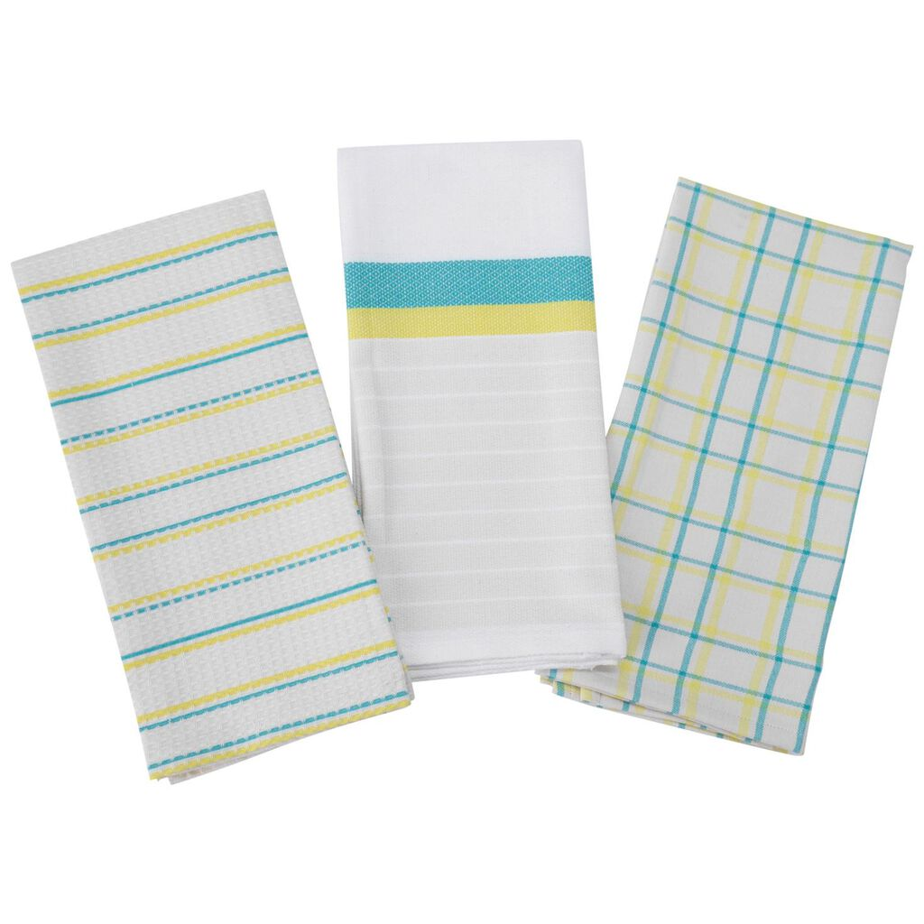 white, yellow and aqua blue kitchen towels, set of 3 - kitchen