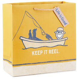 "Life is Good® Keep It Reel Large Square Gift Bag, 10.5"", , large"