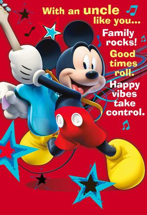 Mickey Mouse Rock Star Father's Day Card for Uncle
