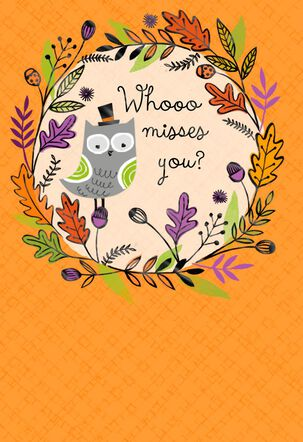 Whooo Misses You Halloween Card