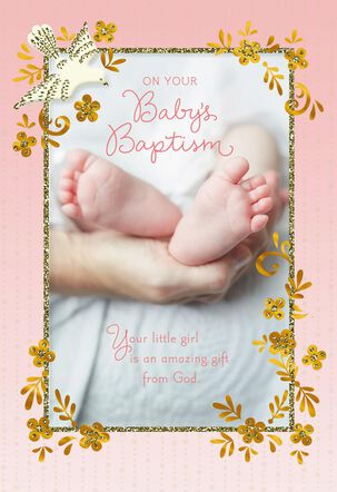 Baby Feet Religious Baptism Card for Girl
