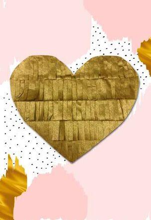 Gold Fringe Heart Valentine's Day Card