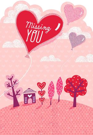 Heart Balloon Thinking of You Valentine's Day Card