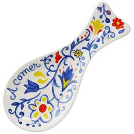 Bright Flower Ceramic Spoon Rest, Spanish, , large
