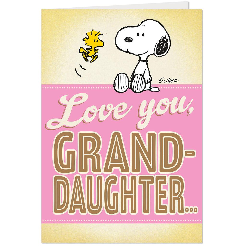 PeanutsR Snoopy Big Hug Pop Up Birthday Card For Granddaughter