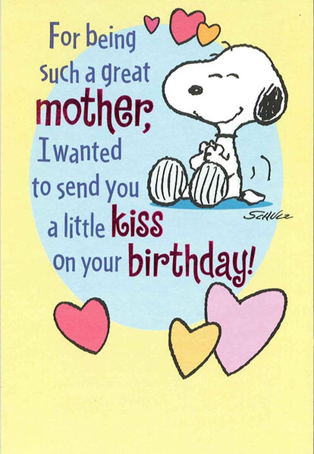 Snoopy Hug And Kiss For Mom Birthday Card