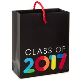 """Multicolor Class of 2017 on Black Gift Card Holder Bag, 4.5"""", , large"""