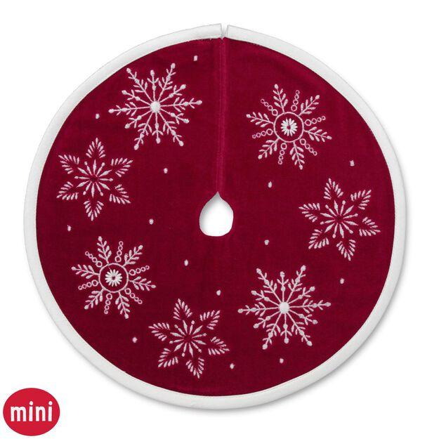 miniature red velvet tree skirt with white snowflake design - Mini Christmas Tree Skirt