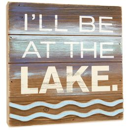Lake 8x8 Rustic Wooden Sign, , large