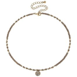 Gray Beaded Choker With Pavé Disc, , large