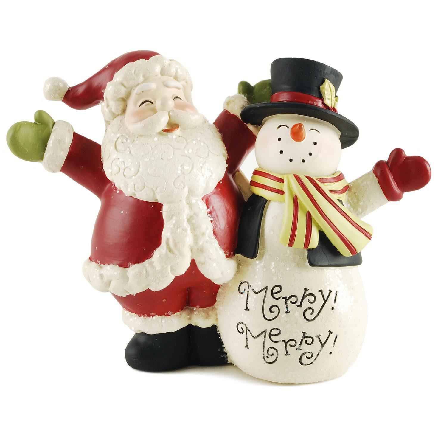 santa and snowman figurine figurines hallmark - Santa And Snowman