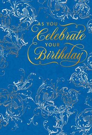 Ornate Scrollwork and Lettering Birthday Card