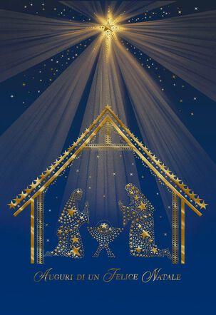 Starlit Nativity Scene Italian-Language Christmas Card