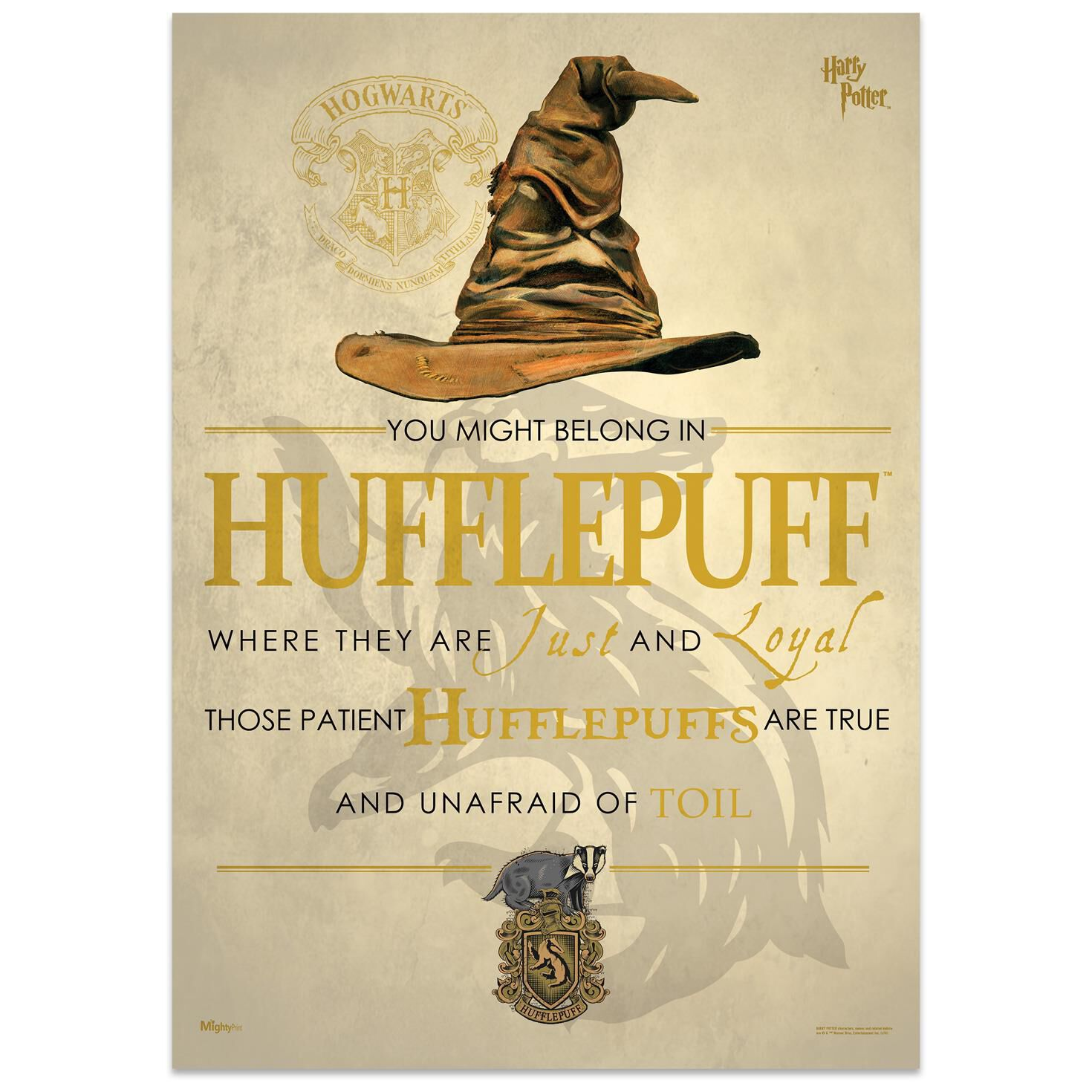 Harry Potter Sorting Hat Hufflepuff MightyPrint™ Wall Art, 17x24 ...