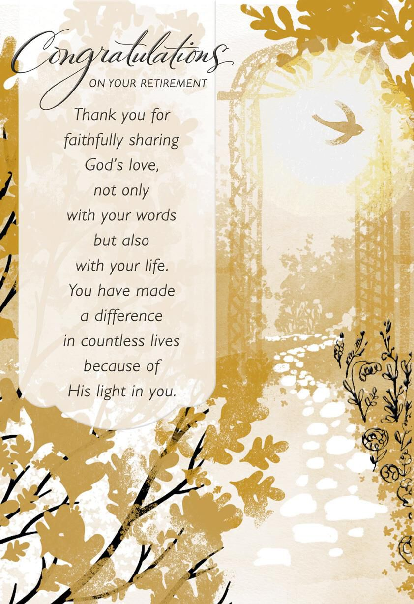 graphic about Retirement Card Printable titled Built a Variation Spiritual Retirement Card for Pastor