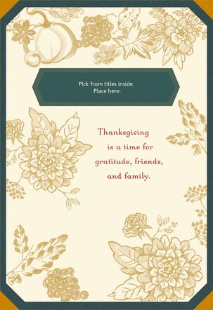 Green and Gold Thanksgiving Card With Customizable Relative Stickers