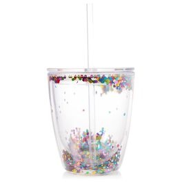 Multi Confetti Double Wall Stemless Wine Glass, 10 oz., , large