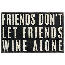 """Primitives by Kathy """"Wine Alone"""" Wood Box Sign, , large"""