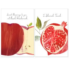 Apple and Pomegranate Rosh Hashanah Multi-Pack Cards, , large