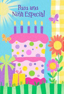 Pink Birthday Cake Spanish-Language Birthday Card for Girl,