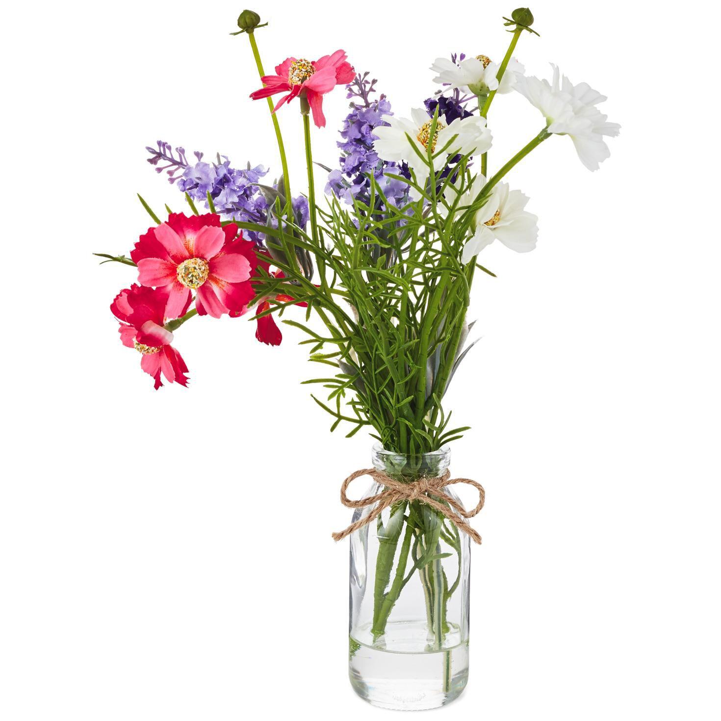 Silk Flower Arrangement In Glass Vase 11 Decorative Accessories
