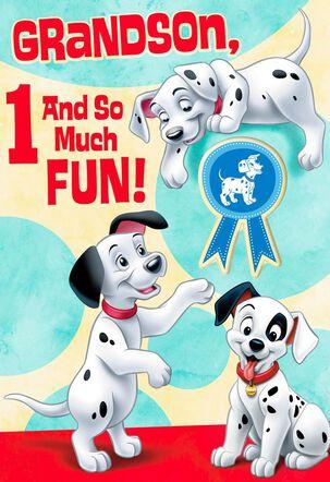 101 Dalmatians 1st Birthday Card for Grandson