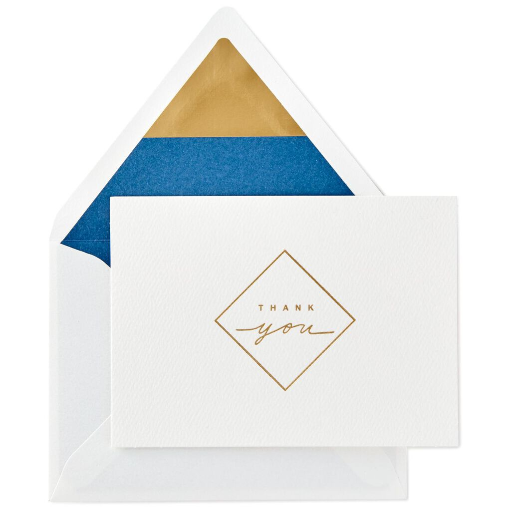 Gold Diamond Blank Thank You Note Cards Box Of 10 Note Cards