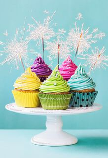 Sparkling Cupcakes Blank Birthday Card,
