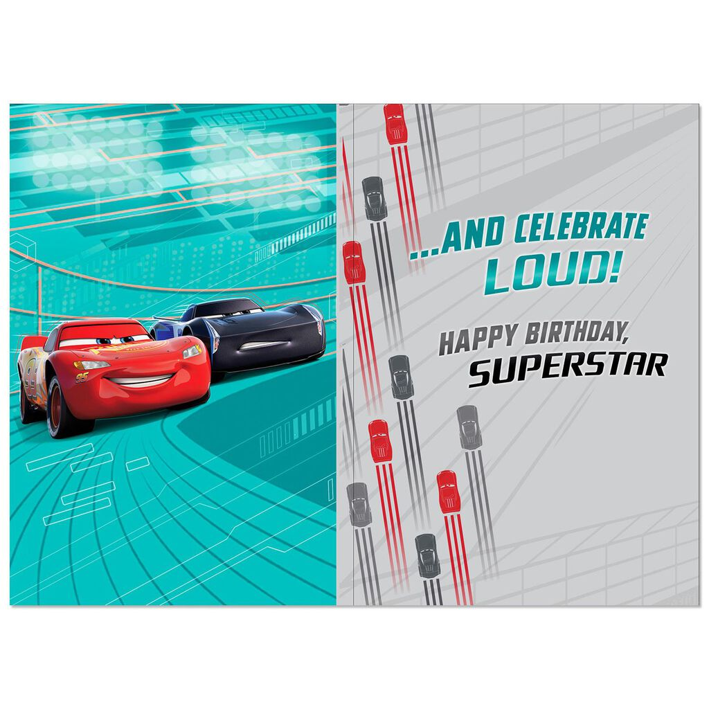Disney Pixar Cars 3 Lightning McQueen Totally Awesome Birthday Card With Sound