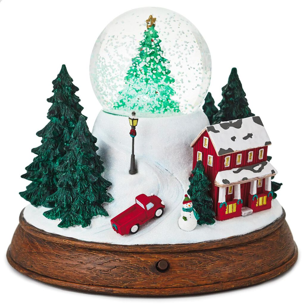Christmas In Evergreen Snow Globe.Snowy Country Town Musical Snow Globe With Light