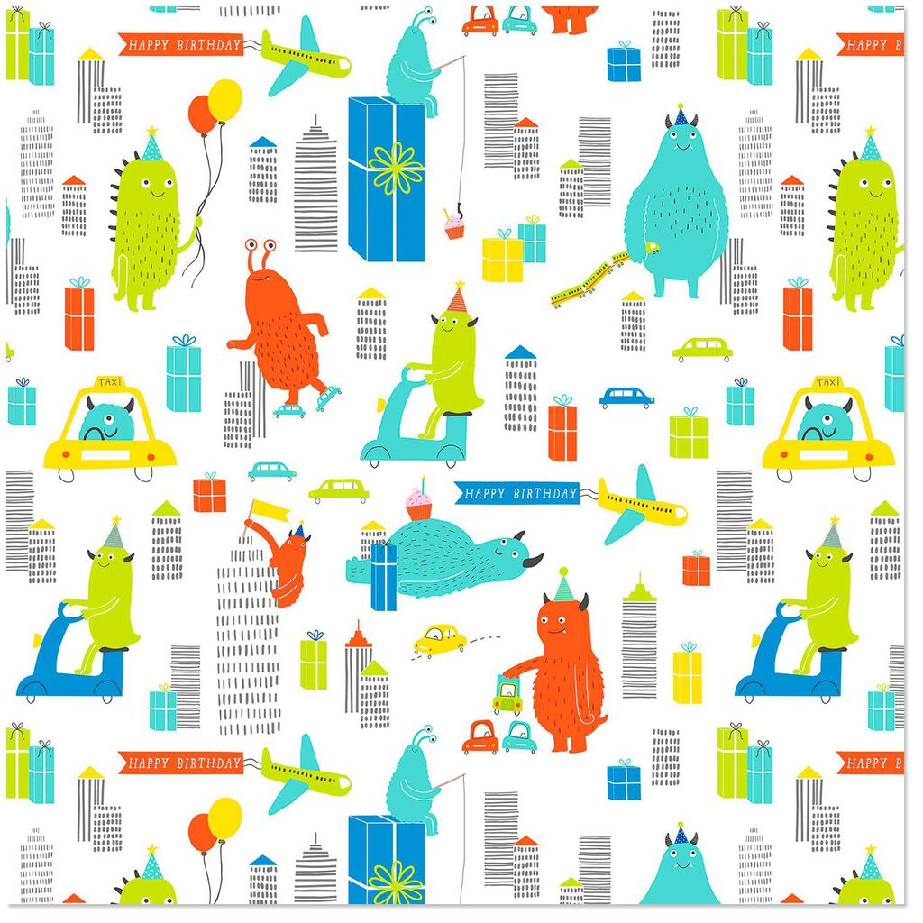 City Monsters Birthday Wrapping Paper Roll 27 Sq Ft
