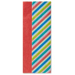 Red and Multicolor Diagonal Stripe 2-Pack Tissue Paper, 6 Sheets, , large