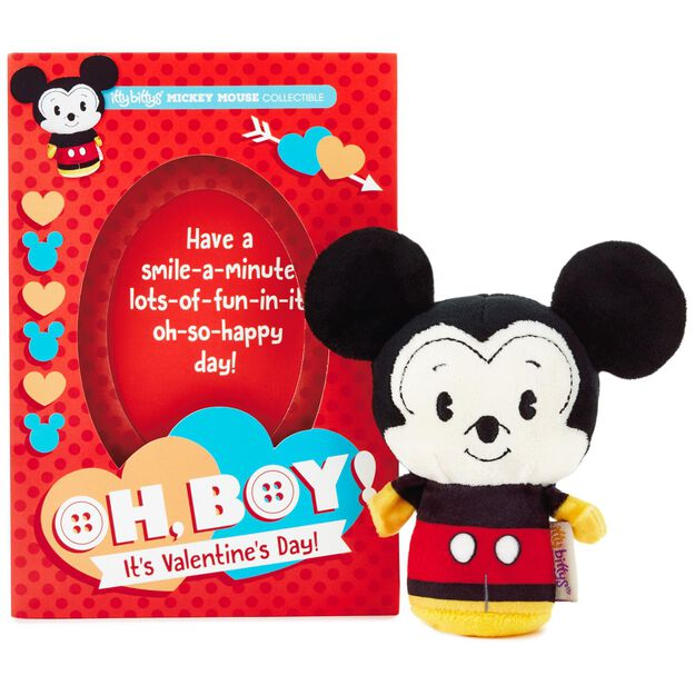 itty bittys mickey mouse valentines day card with stuffed animal