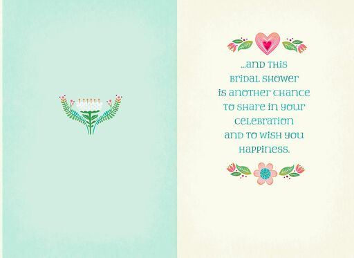 Folk Art Hearts and Flowers Wedding Shower Card for Daughter,