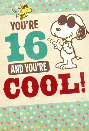 Peanuts® Snoopy and Woodstock 16th Birthday Card