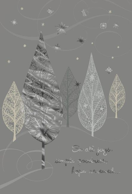 silver trees new year cards