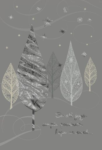 silver trees new year cards pack of 6