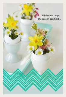 Daisies and Daffodils Bouquet Easter Card,