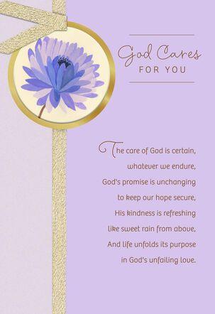 God Cares For You Religious Encouragement Card