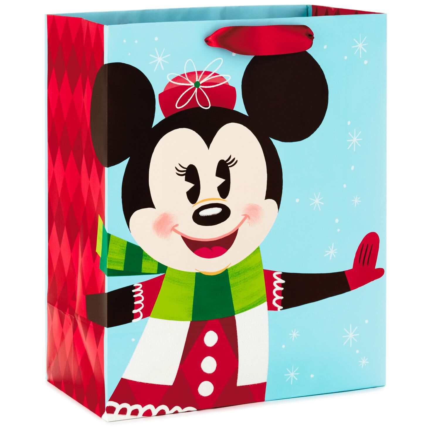 Disney Minnie Mouse in Mittens Large Christmas Gift Bag, 13\