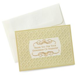 Gold Formal Bow Sympathy Thank You Notes, Pack of 10, , large