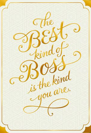 Gold and White You're the Best Boss's Day Card