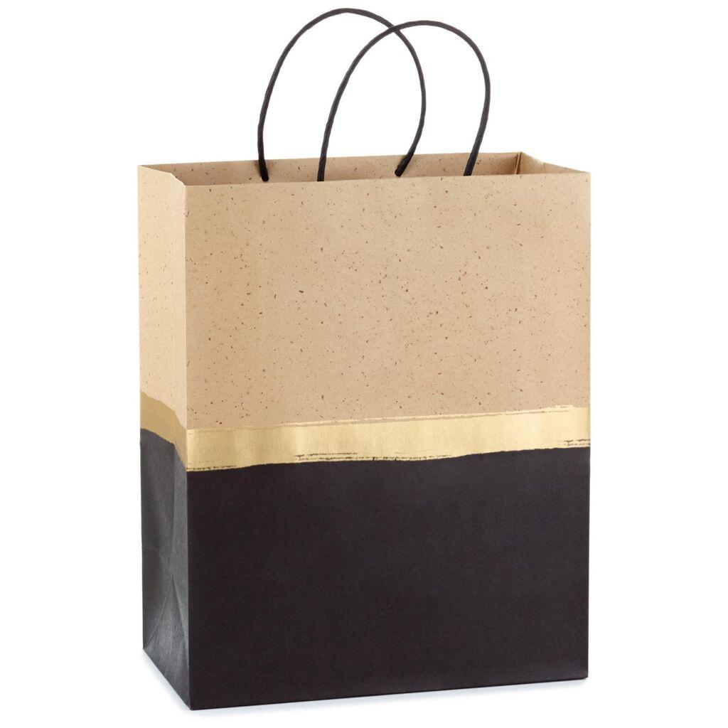 Black Gold And Kraft Horizontal Stripe Large Gift Bag