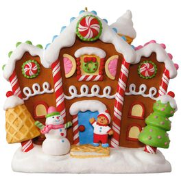 Gingerbread Merriest House in Town Musical Ornament With Light, , large