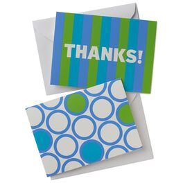 Blue and Green Stripes and Circles Thank You Notes, Box of 50, , large