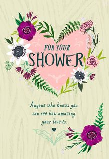 Heart and Flowers Bridal Shower Card,